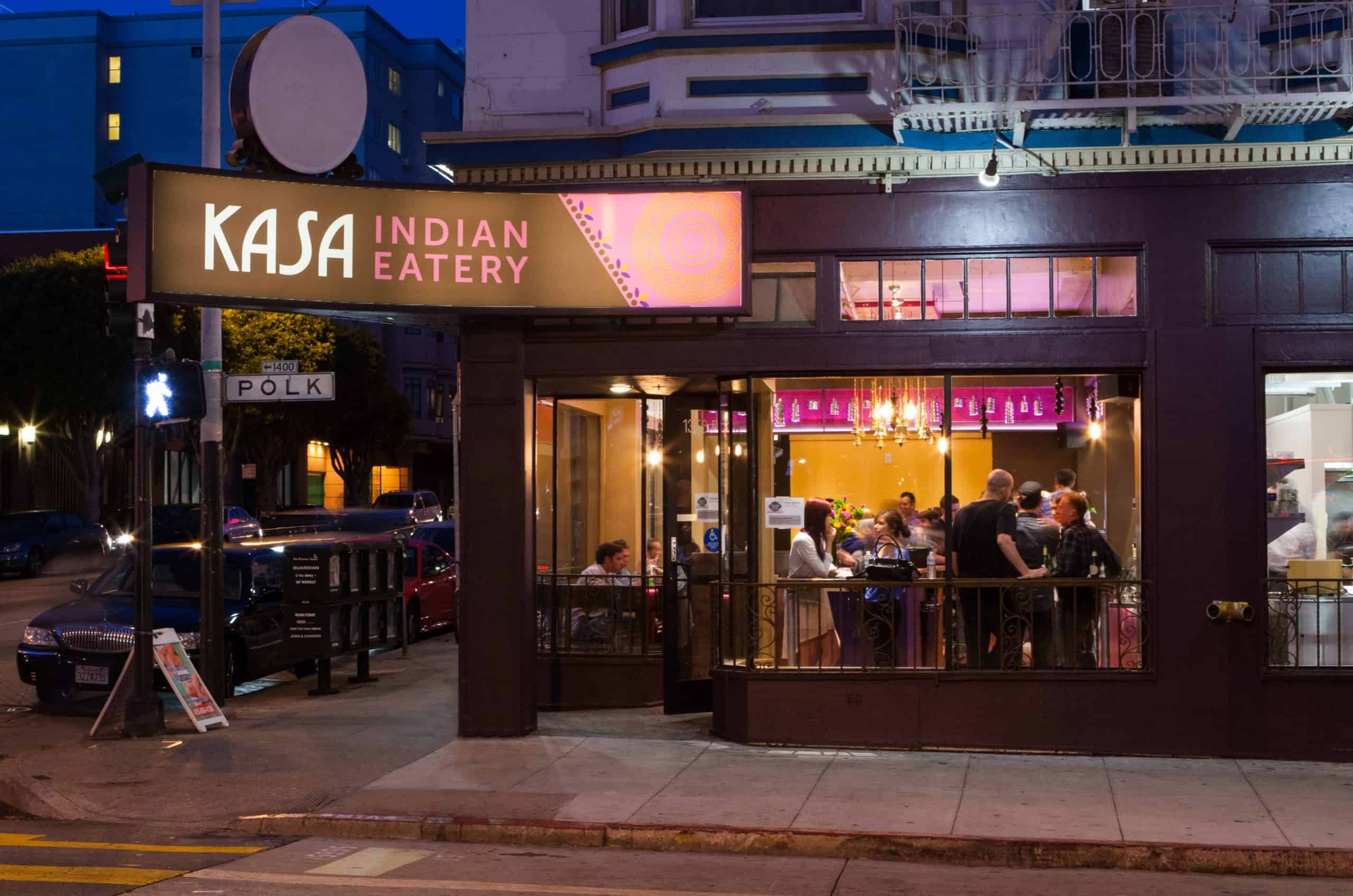 Kasa Indian Restaurant on Polk Street San Francisco exterior restaurant picture at night